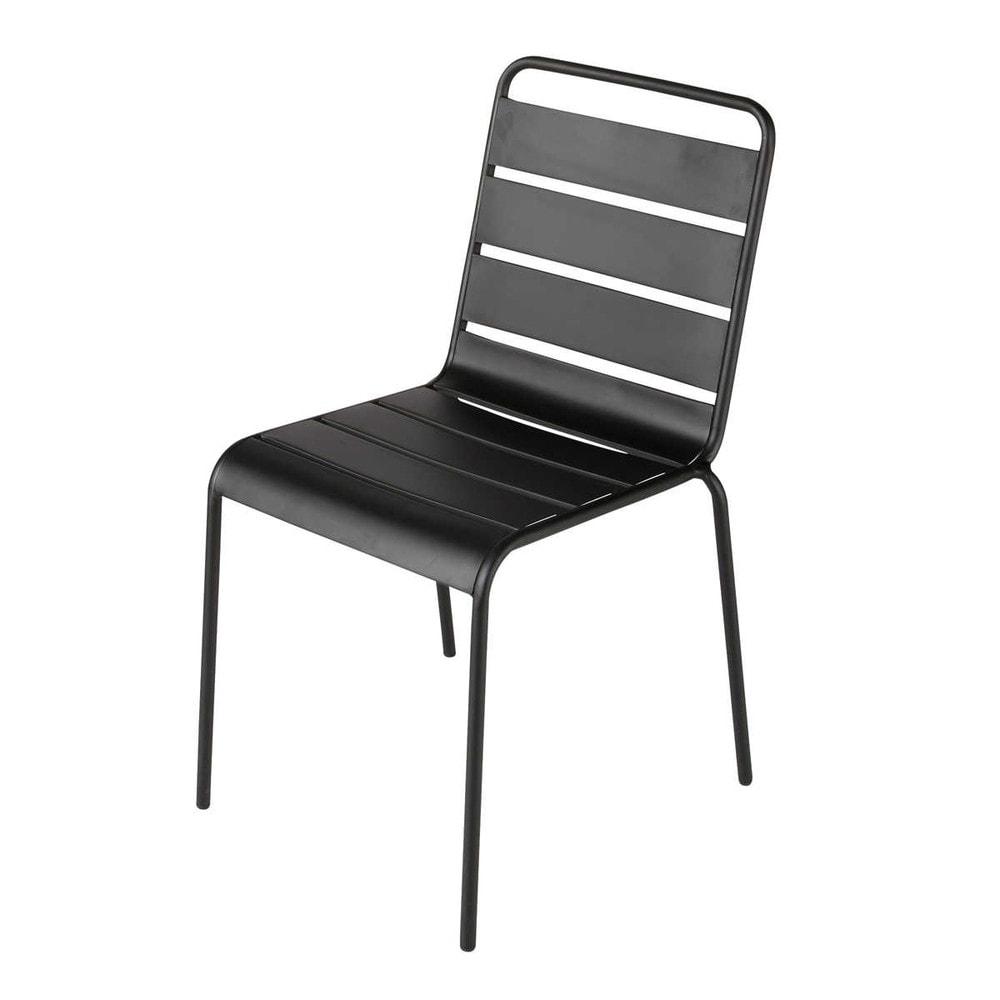Chaise de jardin en m tal noire batignolles maisons du monde for Chaise de jardin noire