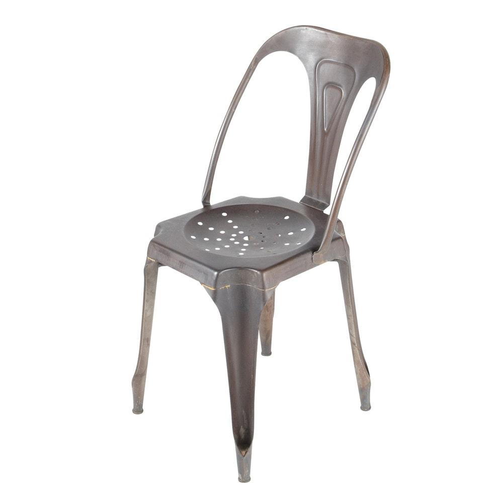 Chaise de jardin en m tal noire multipl 39 s maisons du monde - Chaise de jardin en metal ...