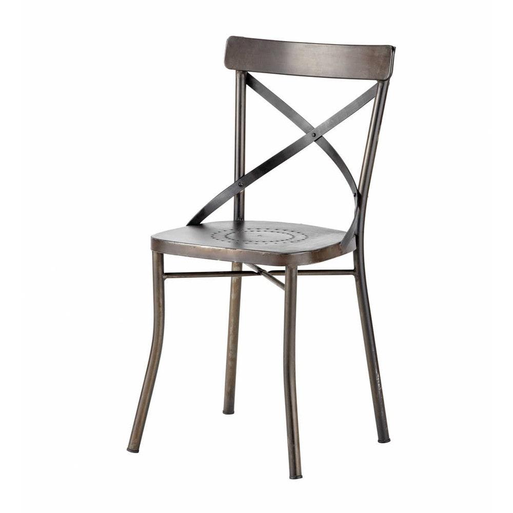 Chaise de jardin en m tal noire tradition maisons du monde for Chaise de jardin newton