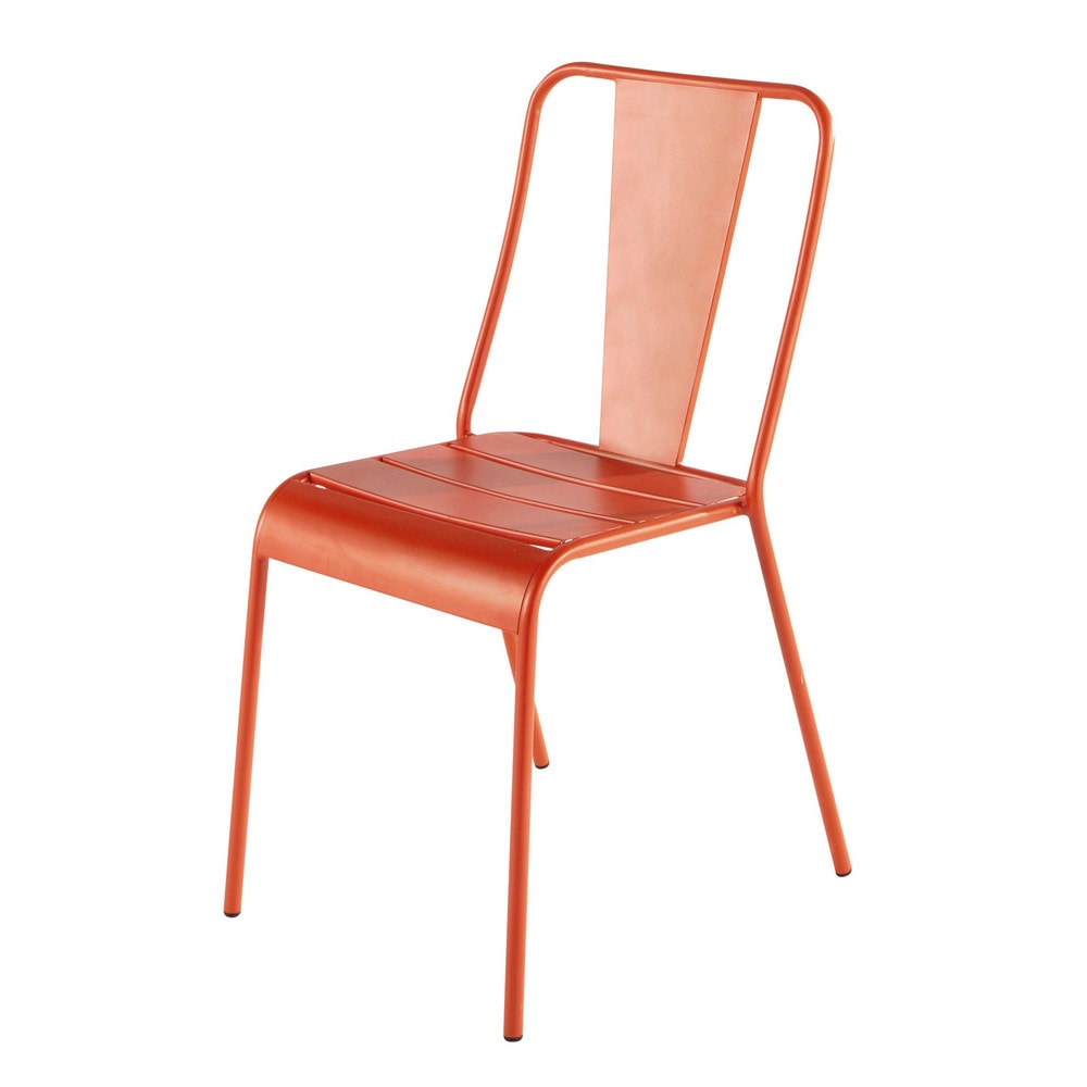 Chaise de jardin en m tal orange harry 39 s maisons du monde for Maison du monde chaises