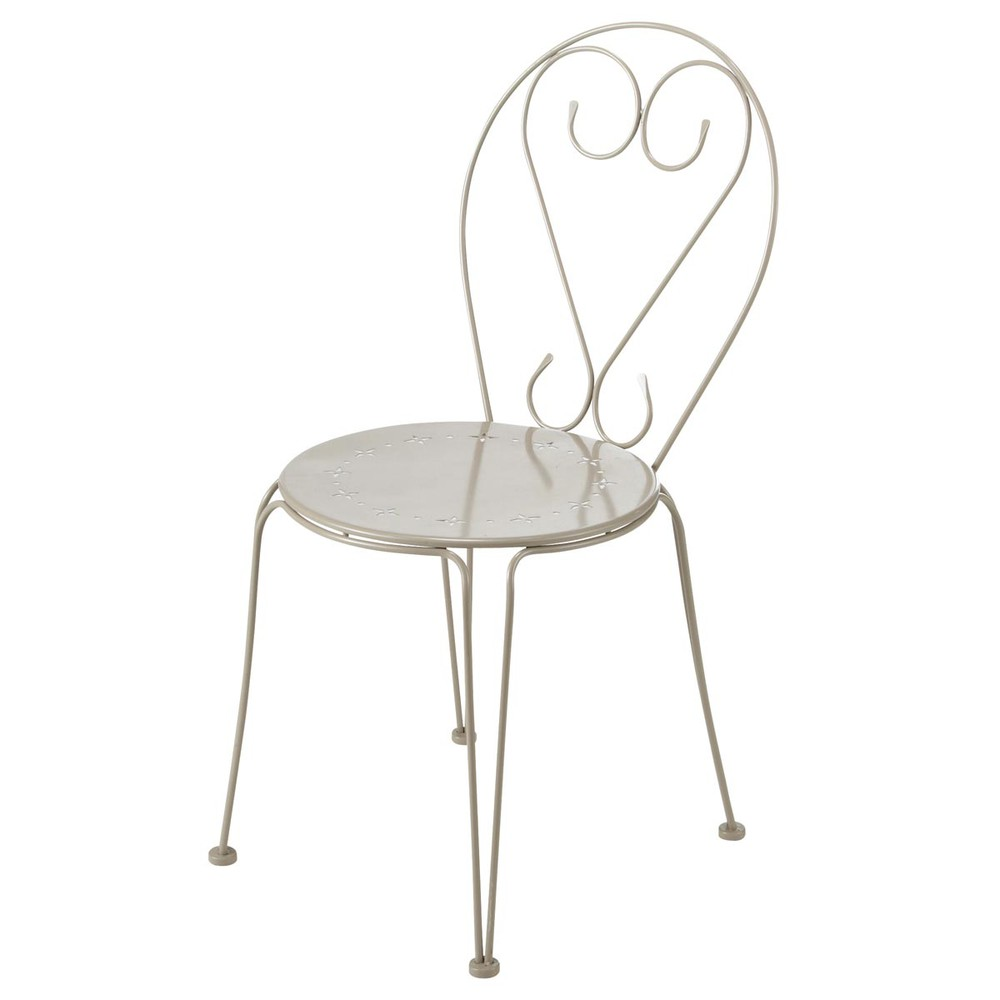 Chaise de jardin en m tal taupe mary maisons du monde for Chaise jardin metal