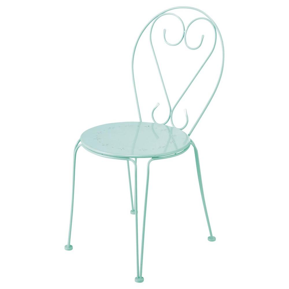 Chaise de jardin en m tal verte mary maisons du monde for Chaise de jardin newton