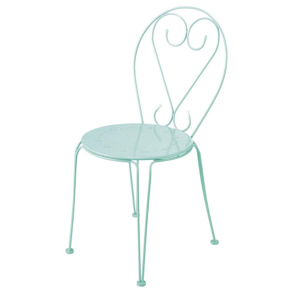 Chaise de jardin en m tal verte mary maisons du monde for Chaise de jardin inox