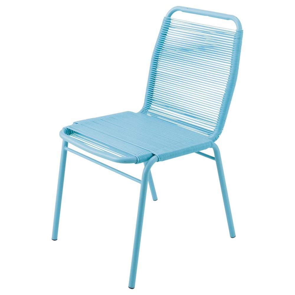 chaise de jardin en poly thyl ne et m tal turquoise scoubi. Black Bedroom Furniture Sets. Home Design Ideas