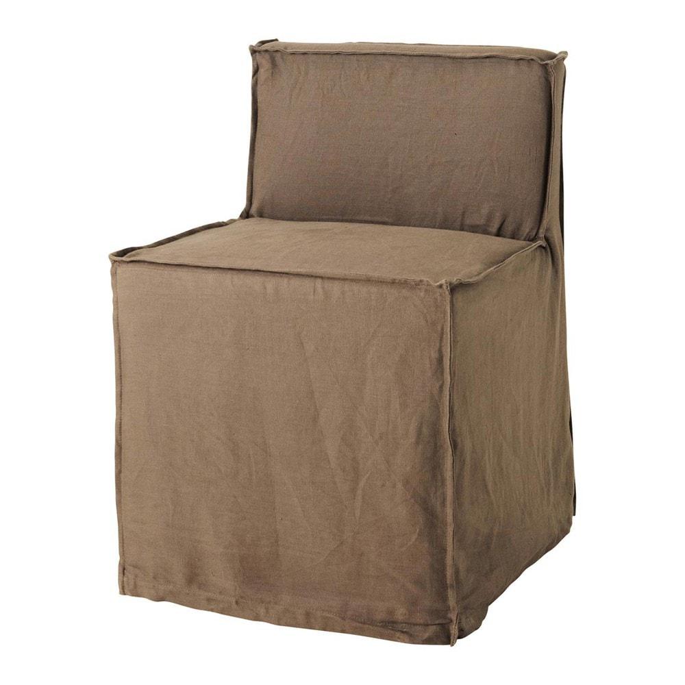 chaise en bois et lin marron romane maisons du monde. Black Bedroom Furniture Sets. Home Design Ideas