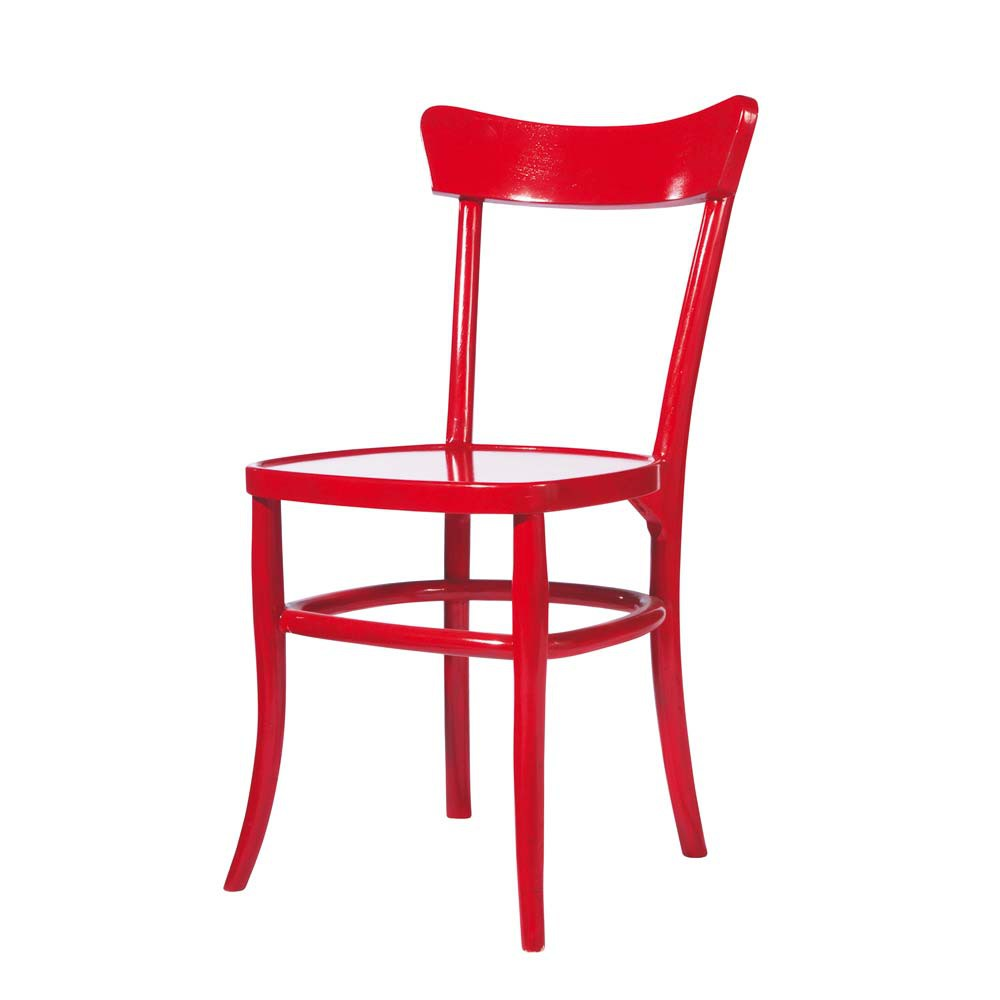 Chaise en bois massif rouge bistrot maisons du monde for Chaise fly rouge