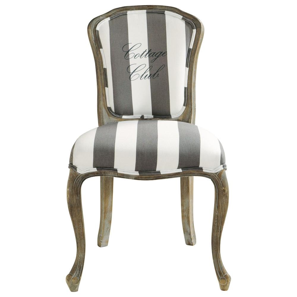 Chaise en coton gris et blanc cottage club maisons du monde - Chaises maison du monde ...