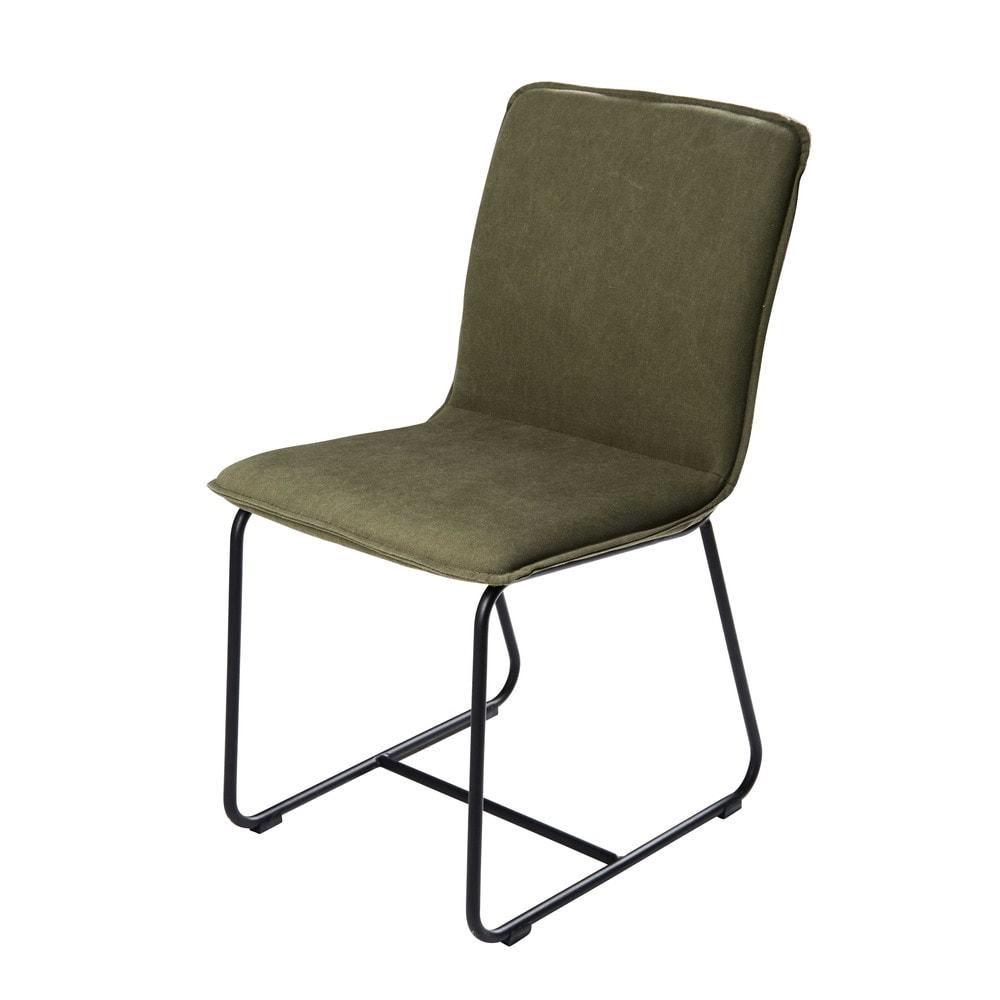 chaise en coton vert olive et m tal noir miller maisons. Black Bedroom Furniture Sets. Home Design Ideas