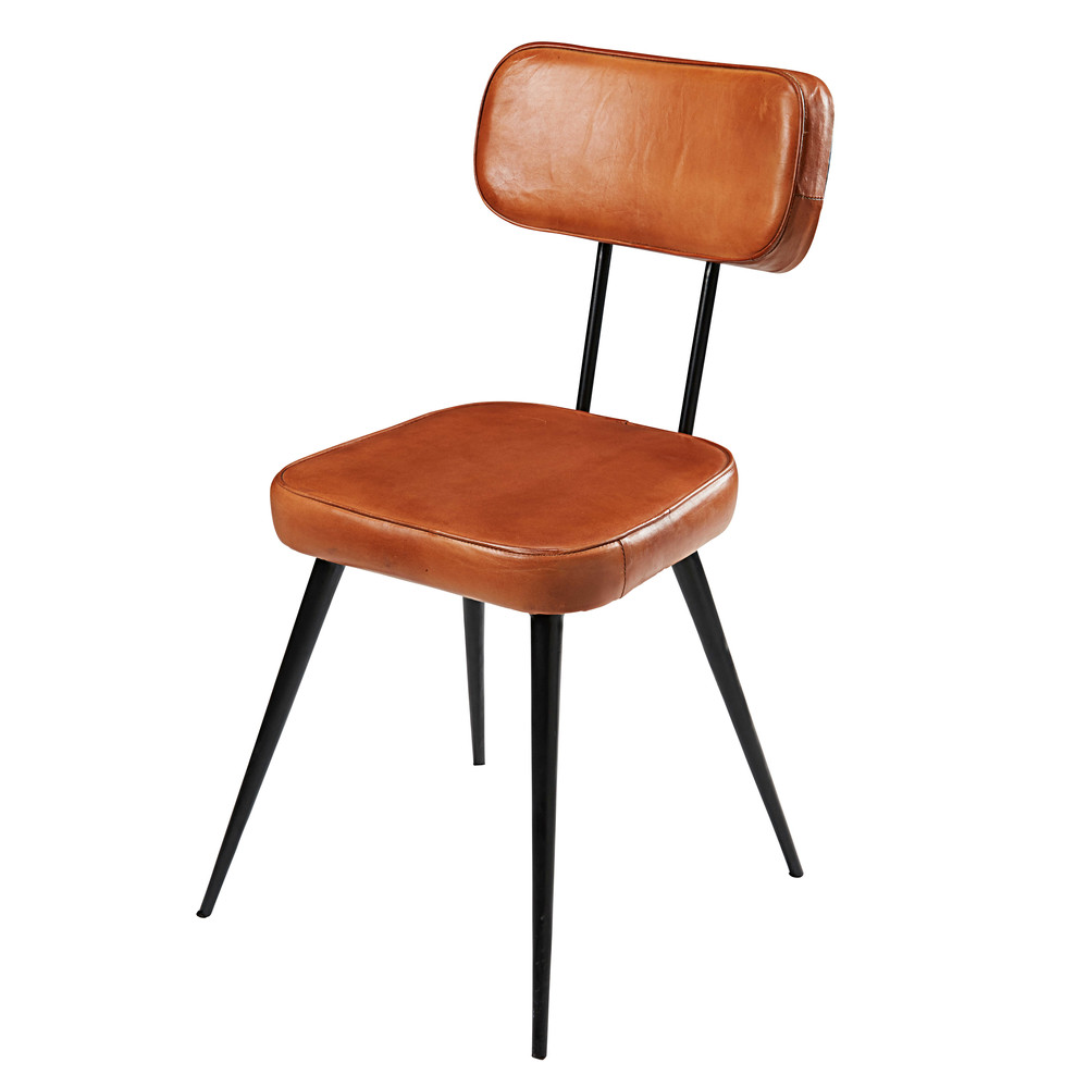 Chaise en cuir de ch vre et m tal noir clapper maisons - Chaise en cuir noir ...