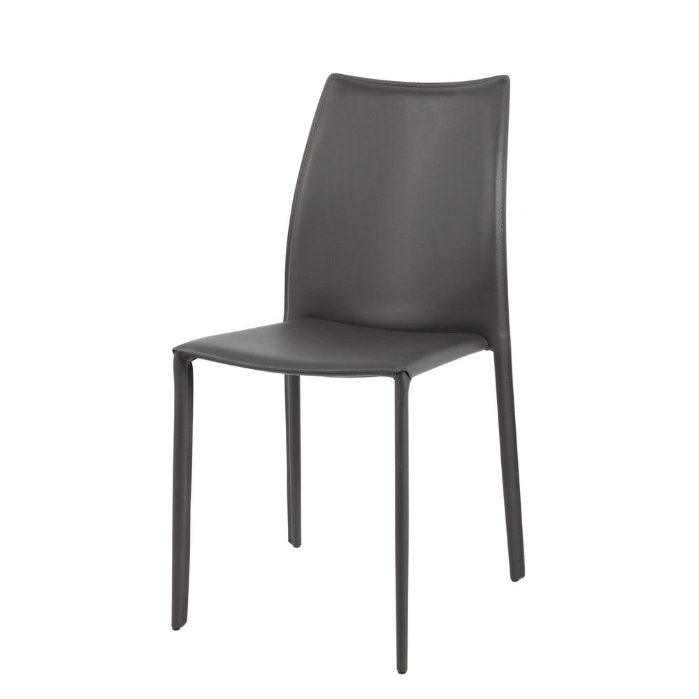 Chaise en cuir recycl et m tal gris klint maisons du monde - Chaise metal et cuir ...