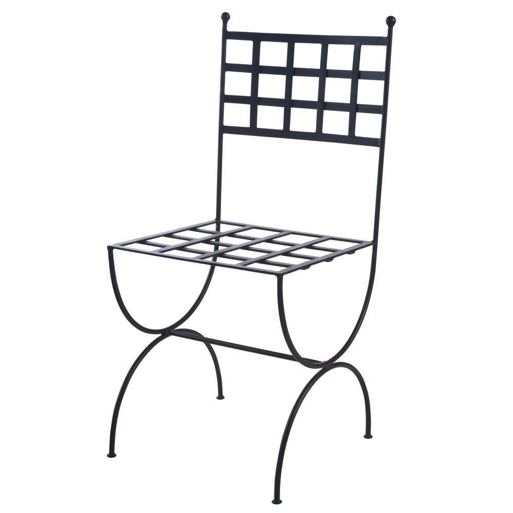 chaise en fer forg marron ang le maisons du monde. Black Bedroom Furniture Sets. Home Design Ideas