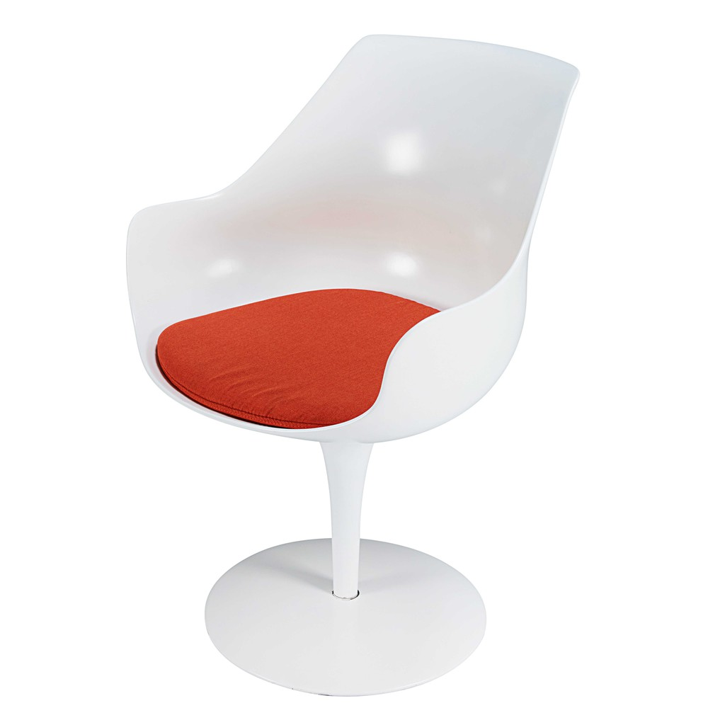 Chaise en fibre de verre blanche et tissu orange champagne for Chaise fibre de verre