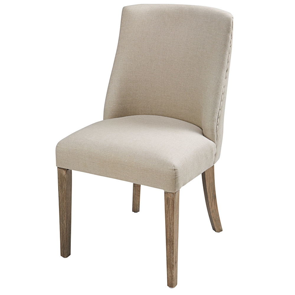 Chaise en lin beige et ch ne blanchi diane maisons du monde for Maison du monde chaises
