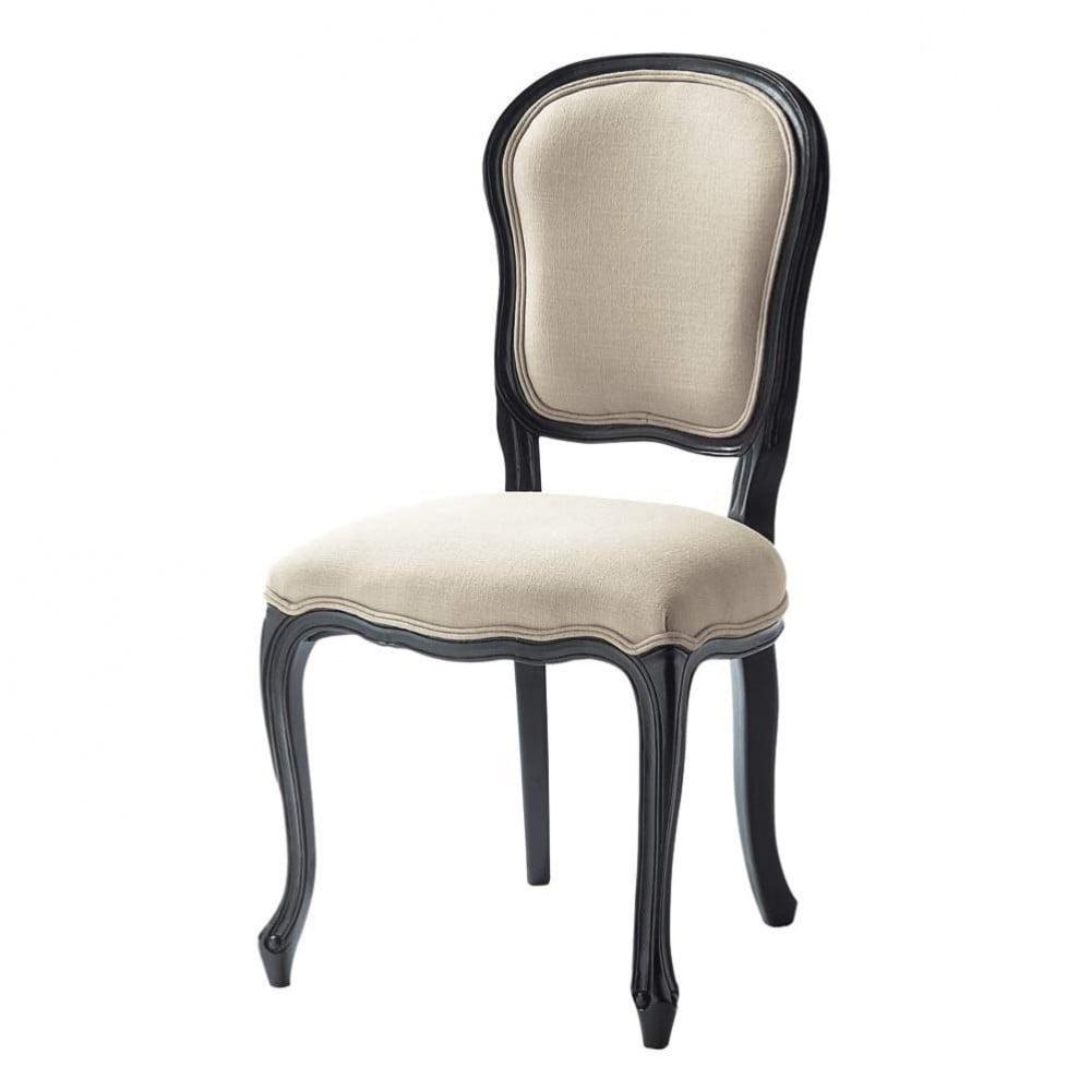 Chaise en lin et bois crue et noire versailles maisons for Chaise noir en bois