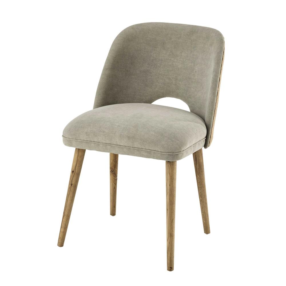 Chaise en lin et ch ne massif meryl maisons du monde - La maison du fauteuil ...