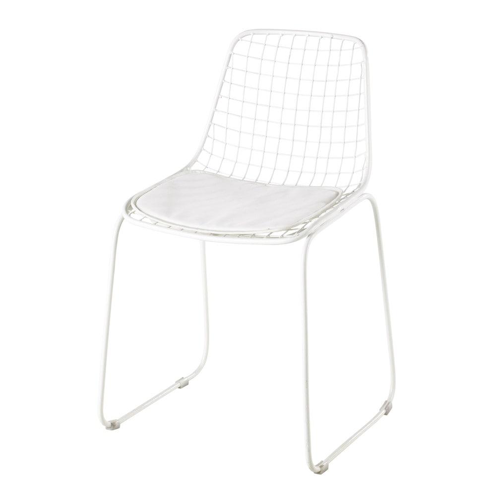 chaise en m tal blanche picpus maisons du monde. Black Bedroom Furniture Sets. Home Design Ideas