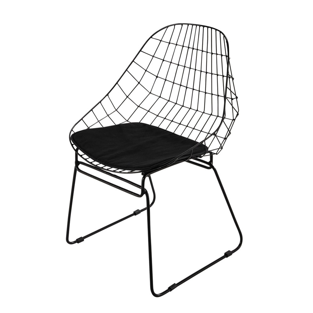 Chaise en m tal noire orsay maisons du monde for Maison du monde mobilier de jardin