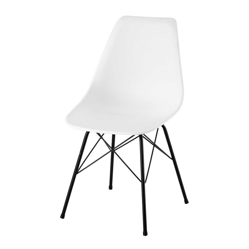 Chaise en polypropyl ne et m tal blanche cardiff maisons du monde - Chaise blanche maison du monde ...