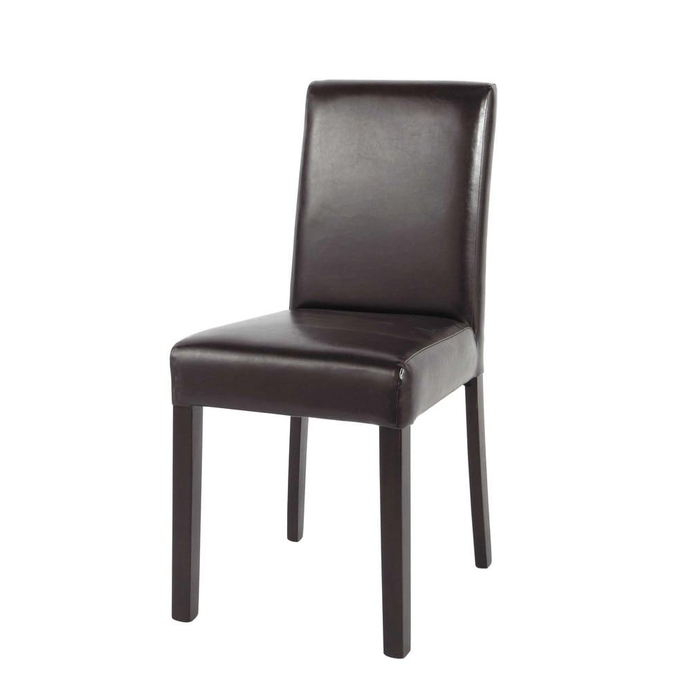 Chaise en polyur thane et bois marron tempo maisons du monde for Chaise marron