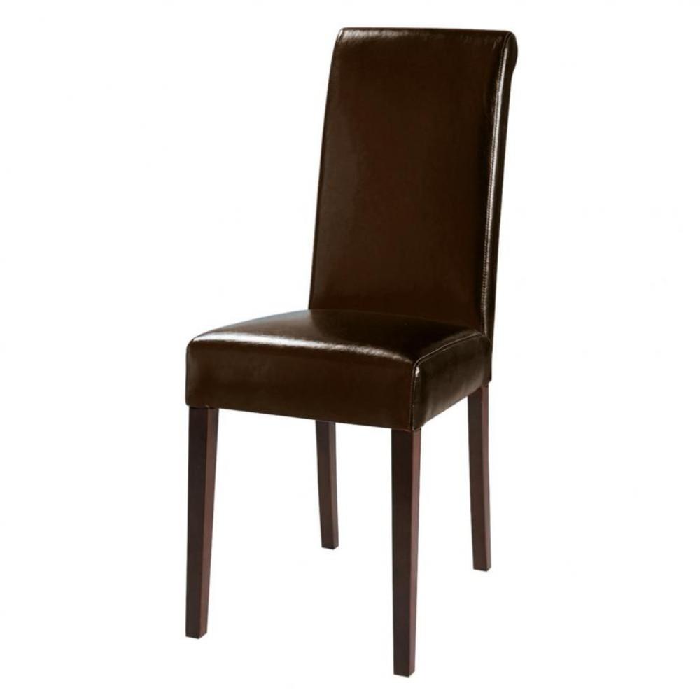 Chaise en polyur thane et ch taignier marron boston for Chaise marron