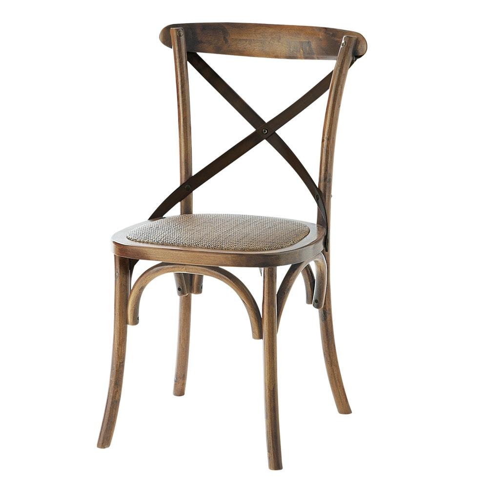 Chaise en rotin et ch ne effet vieilli tradition maisons for Ancienne collection maison du monde