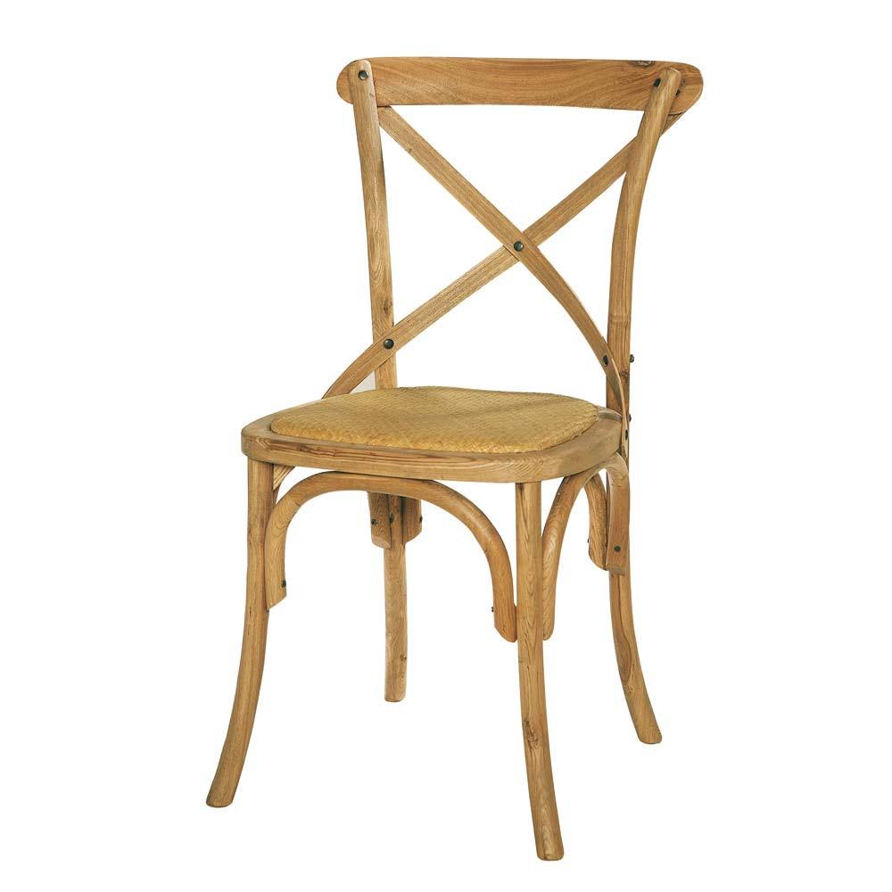Chaise en rotin et ch ne massif tradition maisons du monde for Chaise bois et rotin