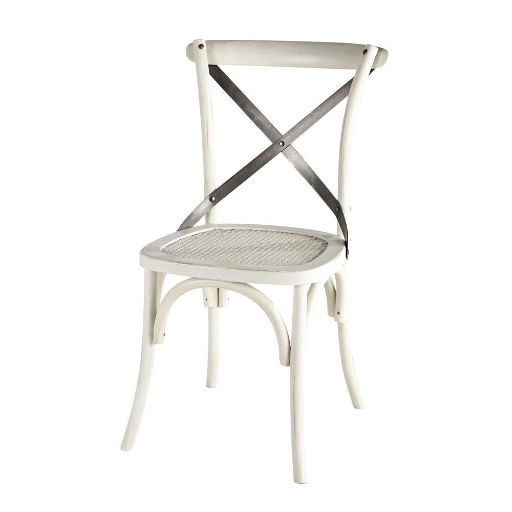 Chaise en rotin et m tal blanche tradition maisons du monde - Chaise bistrot maison du monde ...