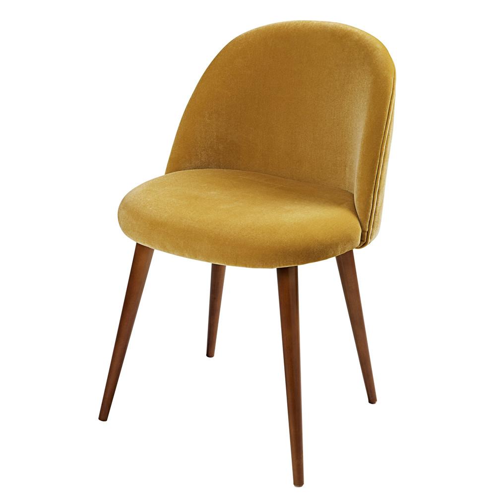 chaise en velours jaune moutarde et bouleau massif mauricette maisons du monde. Black Bedroom Furniture Sets. Home Design Ideas