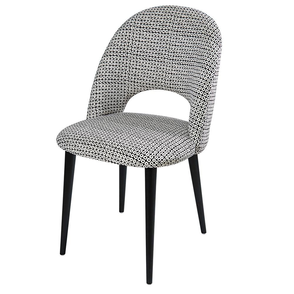 chaise en velours motifs noirs et blancs et bouleau iris maisons du monde. Black Bedroom Furniture Sets. Home Design Ideas