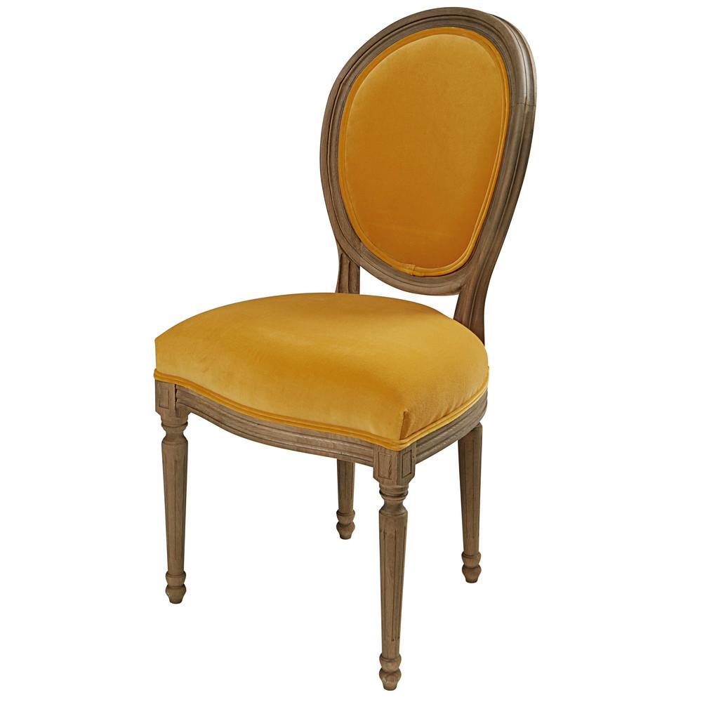 Chaise en velours ocre et ch ne massif louis maisons du monde - Chaise medaillon velours ...