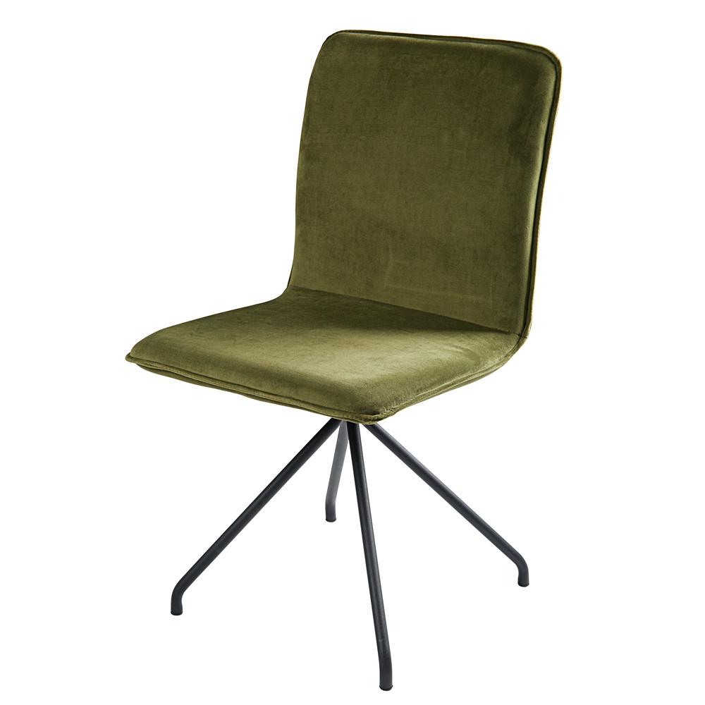 chaise en velours vert olive et m tal noir ellipse. Black Bedroom Furniture Sets. Home Design Ideas