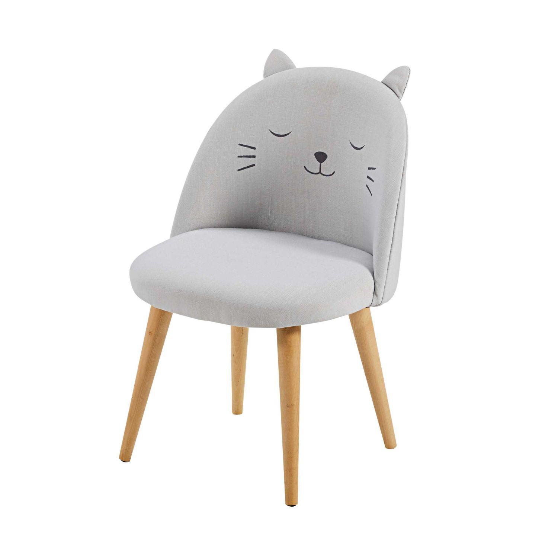 Chaise enfant gris clair à motifs Cats | Maisons du Monde