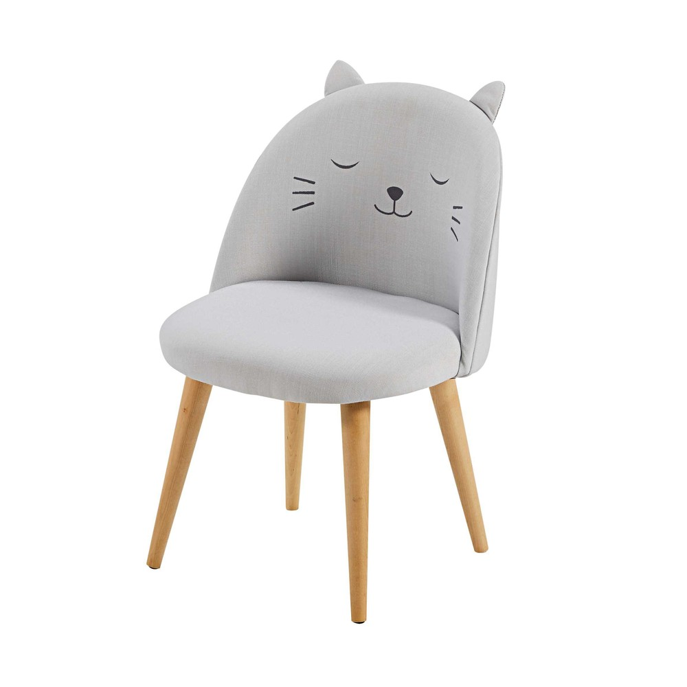 chaise enfant gris clair motifs cats maisons du monde. Black Bedroom Furniture Sets. Home Design Ideas