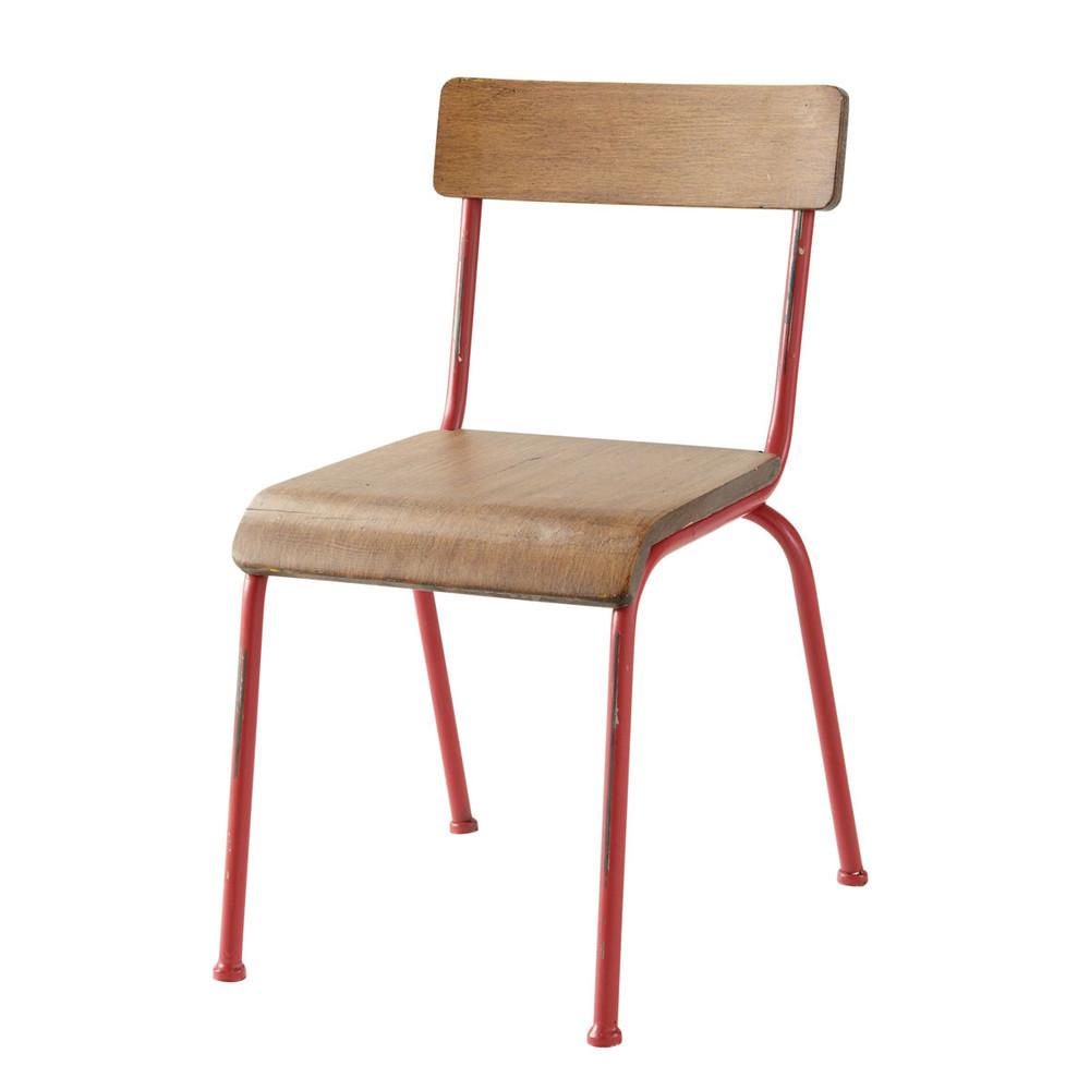 Chaise enfant rouge school maisons du monde for Chaise industrielle maison du monde