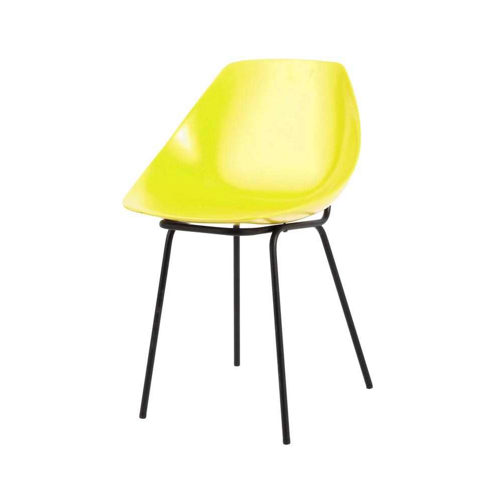 chaise guariche en m tal et fibre de verre noire et jaune. Black Bedroom Furniture Sets. Home Design Ideas