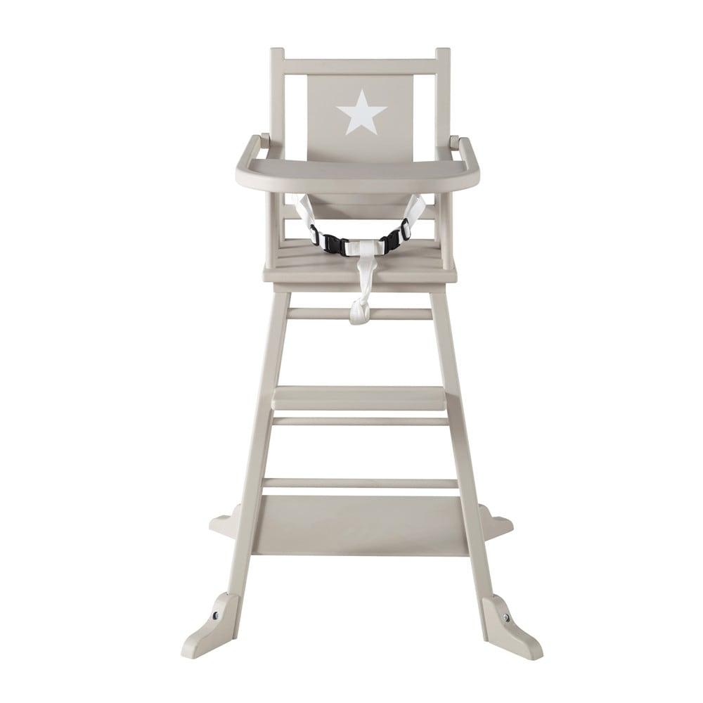 Chaise haute pour b b en bois taupe pastel maisons du monde for Chaise haute pour bb