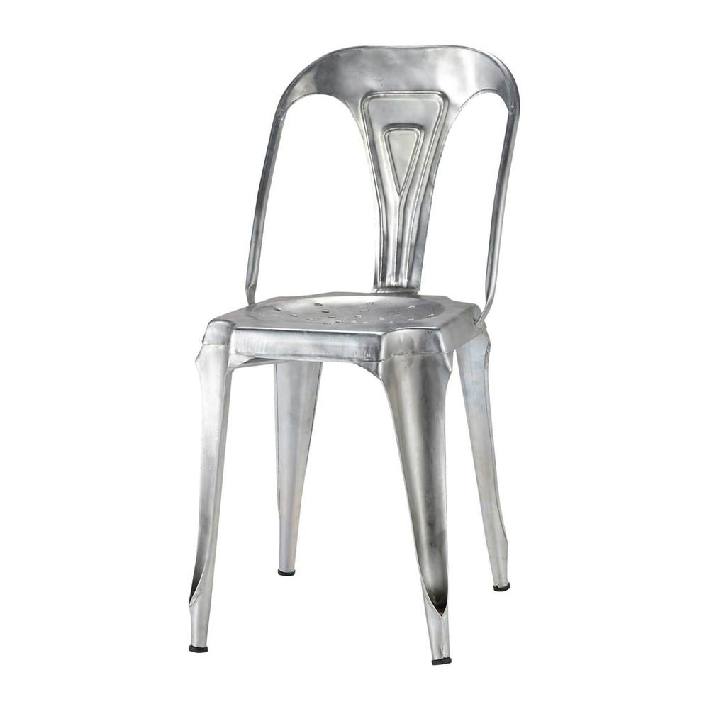 Chaise indus en acier galvanis multipl 39 s maisons du monde for Sedie in acciaio