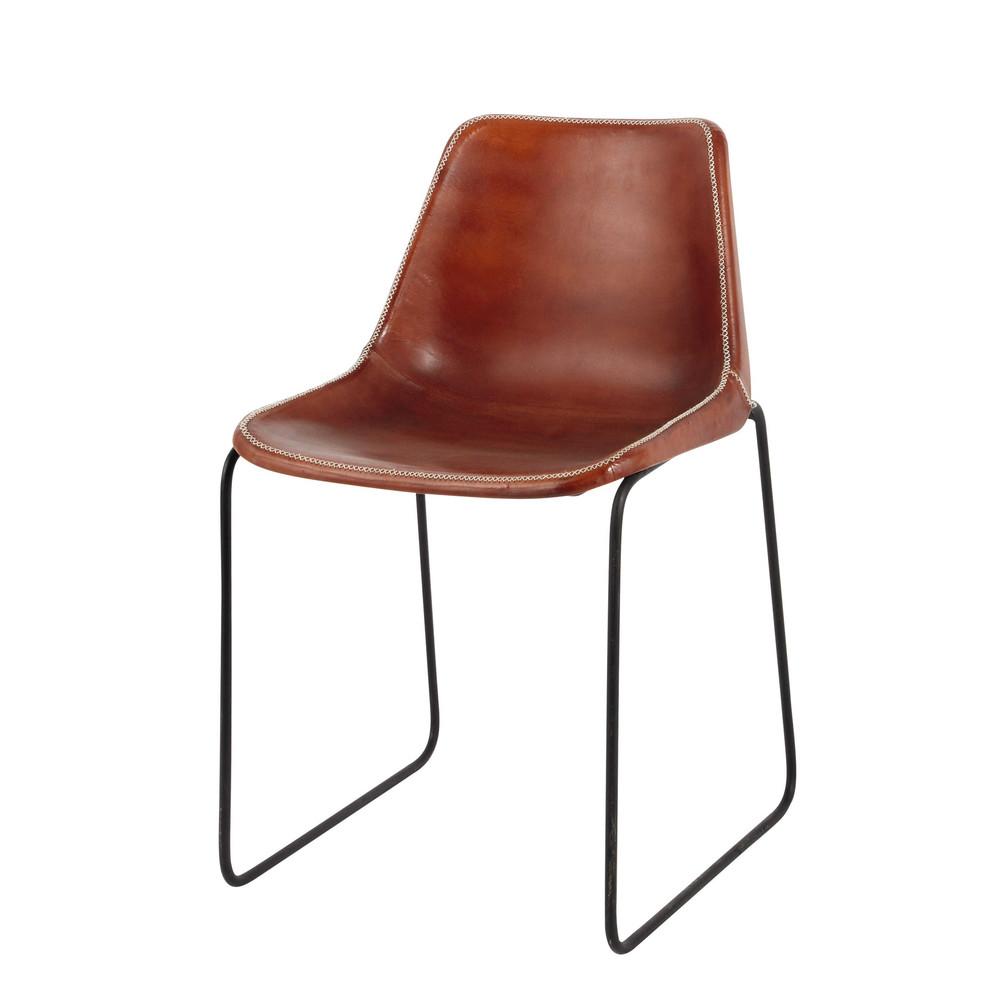 Chaise indus en cuir et m tal camel waterloo maisons du - Chaise metal et cuir ...