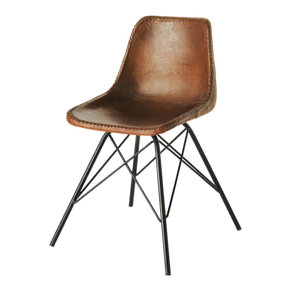 Chaise indus en cuir et m tal marron austerlitz maisons du monde - Chaise maison du monde solde ...