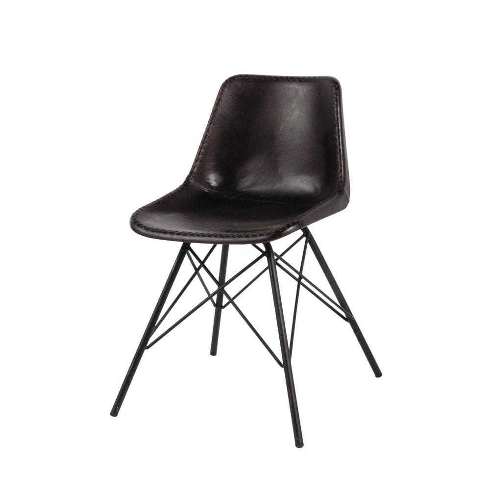 Chaise indus en cuir et m tal noire austerlitz maisons for Housse de chaise en cuir