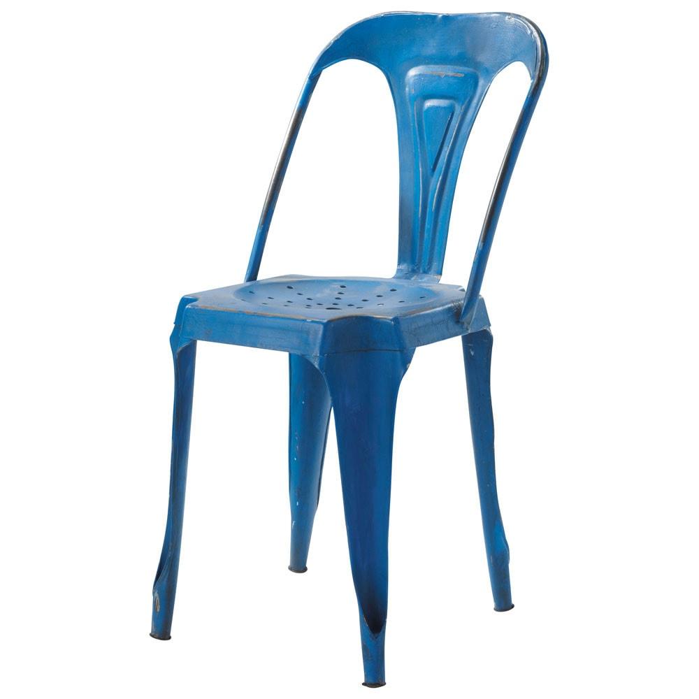 Chaise indus en m tal bleue multipl 39 s maisons du monde for Chaise rouge et bleue