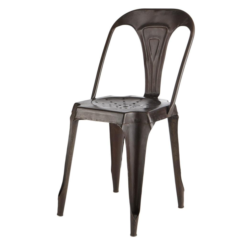Chaise indus en m tal effet vieilli multipl 39 s maisons du monde - Chaises industrielles metal ...