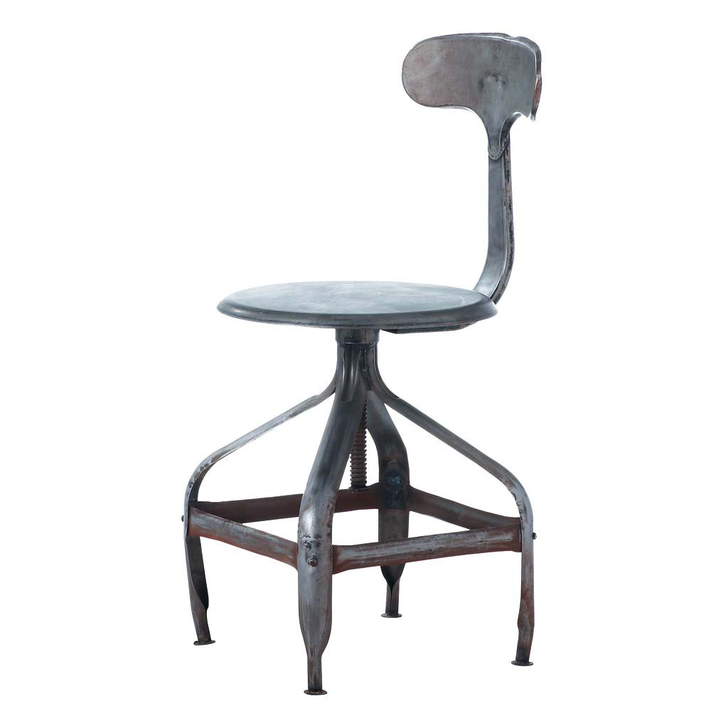 Chaise indus en m tal effet vieilli t l graphe maisons - Chaise bureau maison du monde ...
