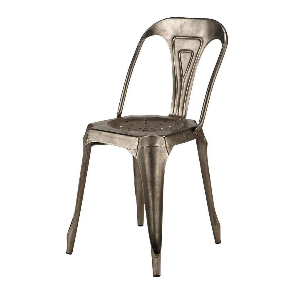 Chaise indus en m tal grise multipl 39 s maisons du monde - Maisons du monde chaises ...