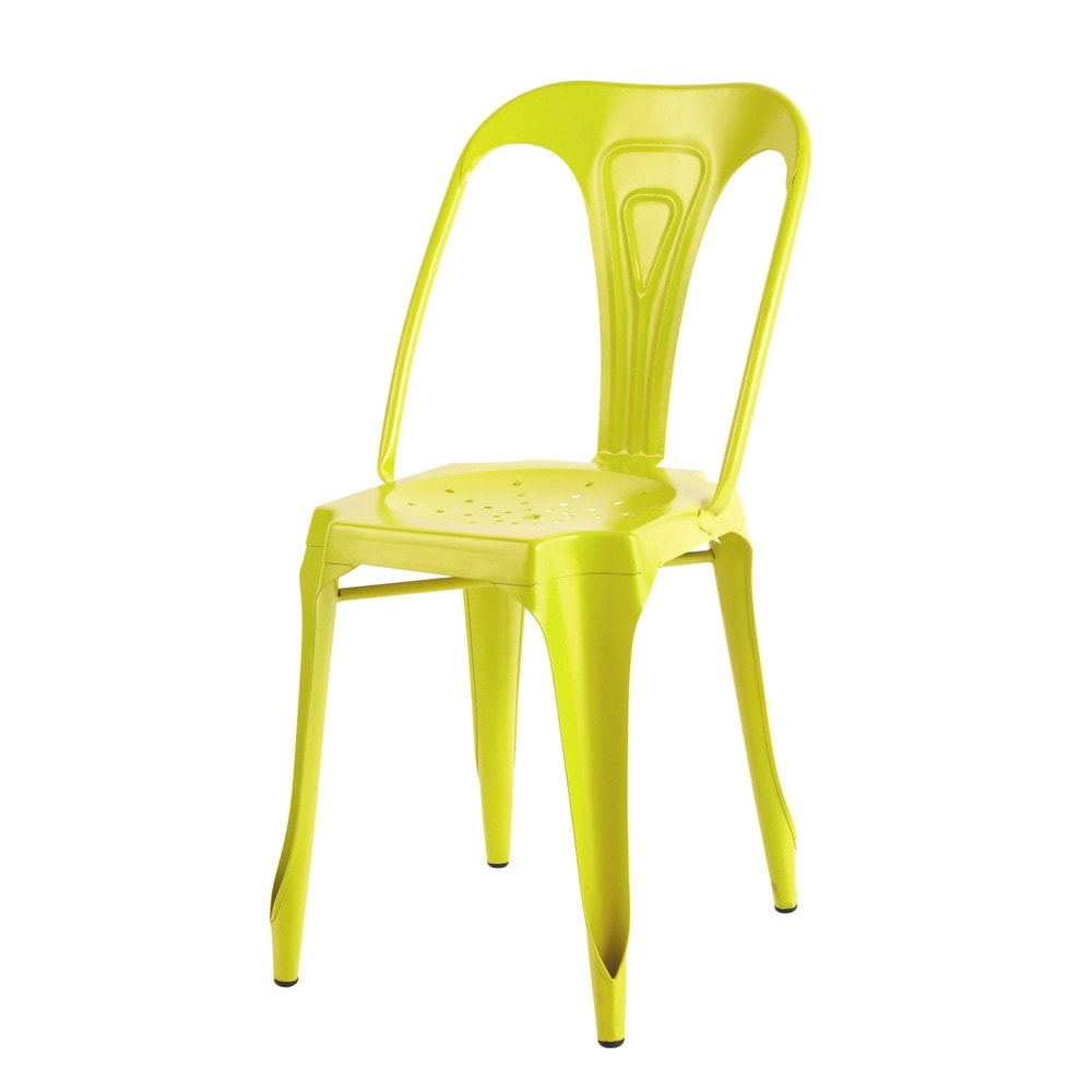 chaise indus en m tal jaune fluo multipl 39 s maisons du monde. Black Bedroom Furniture Sets. Home Design Ideas