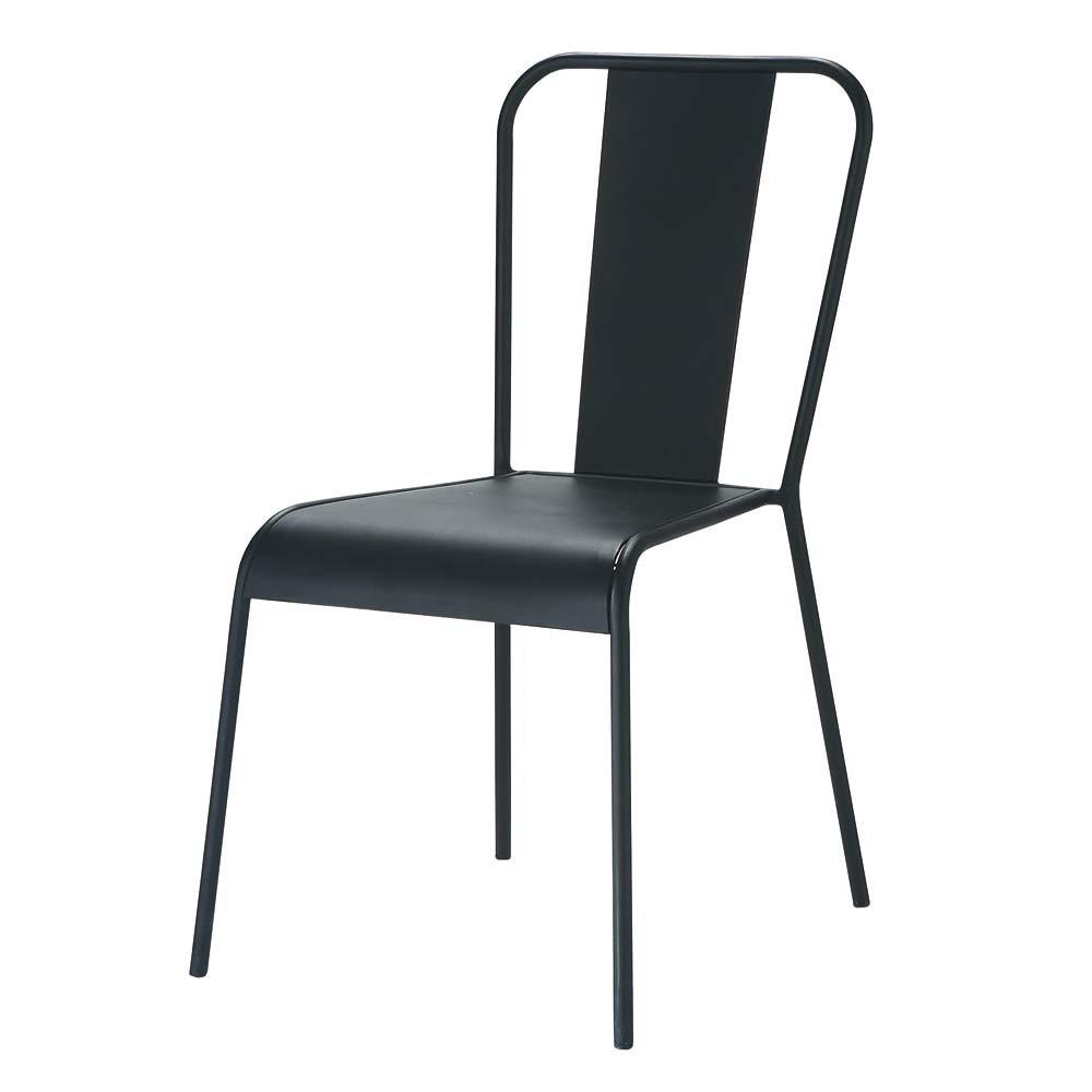 Chaise indus en m tal noire factory maisons du monde - Chaise style industrielle ...