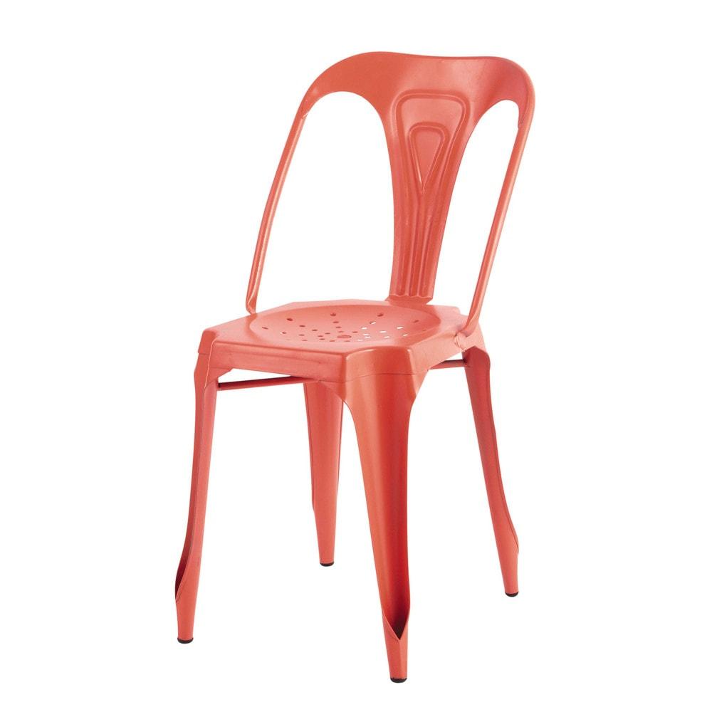 Chaise indus en m tal orange multipl 39 s maisons du monde - Chaise metal maison du monde ...