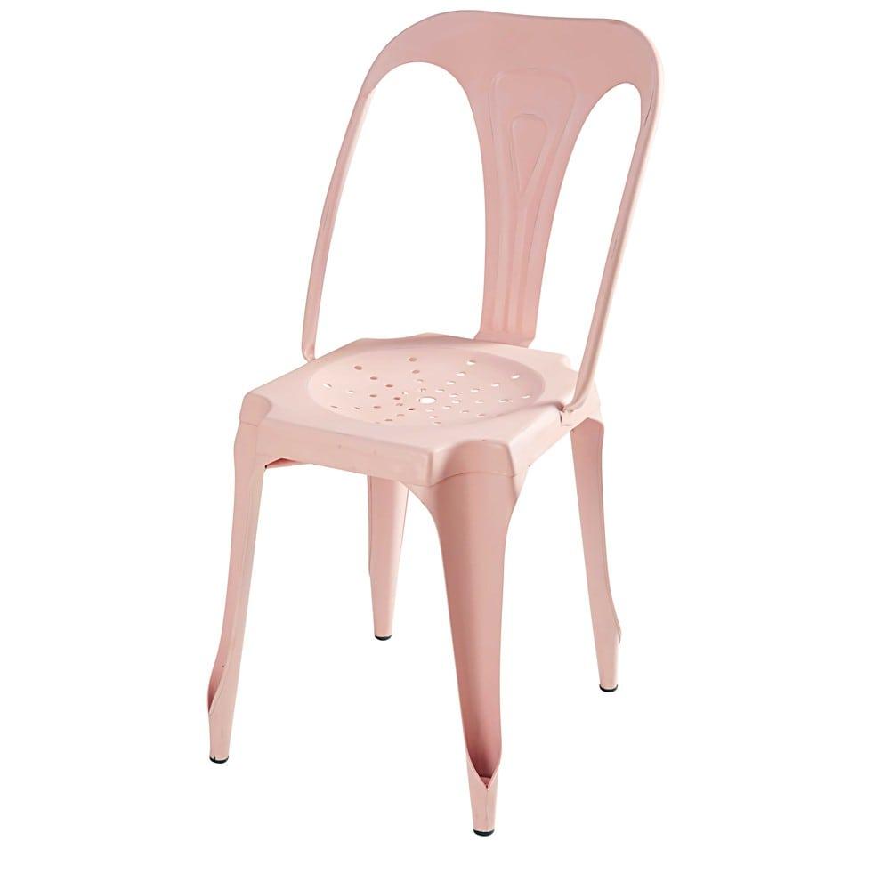 Chaise indus en m tal rose pastel multipl 39 s maisons du monde for Chaise pastel