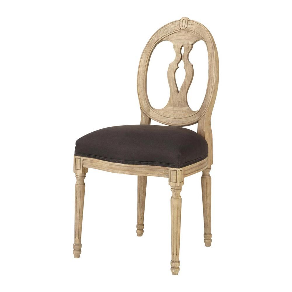 chaise lin gris anthracite h loise maisons du monde. Black Bedroom Furniture Sets. Home Design Ideas