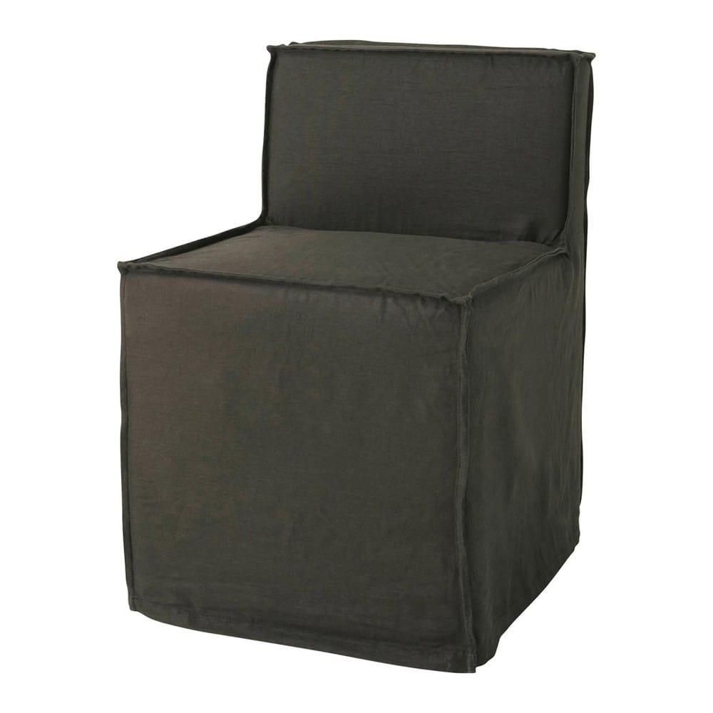 chaise lin gris anthracite romane maisons du monde. Black Bedroom Furniture Sets. Home Design Ideas